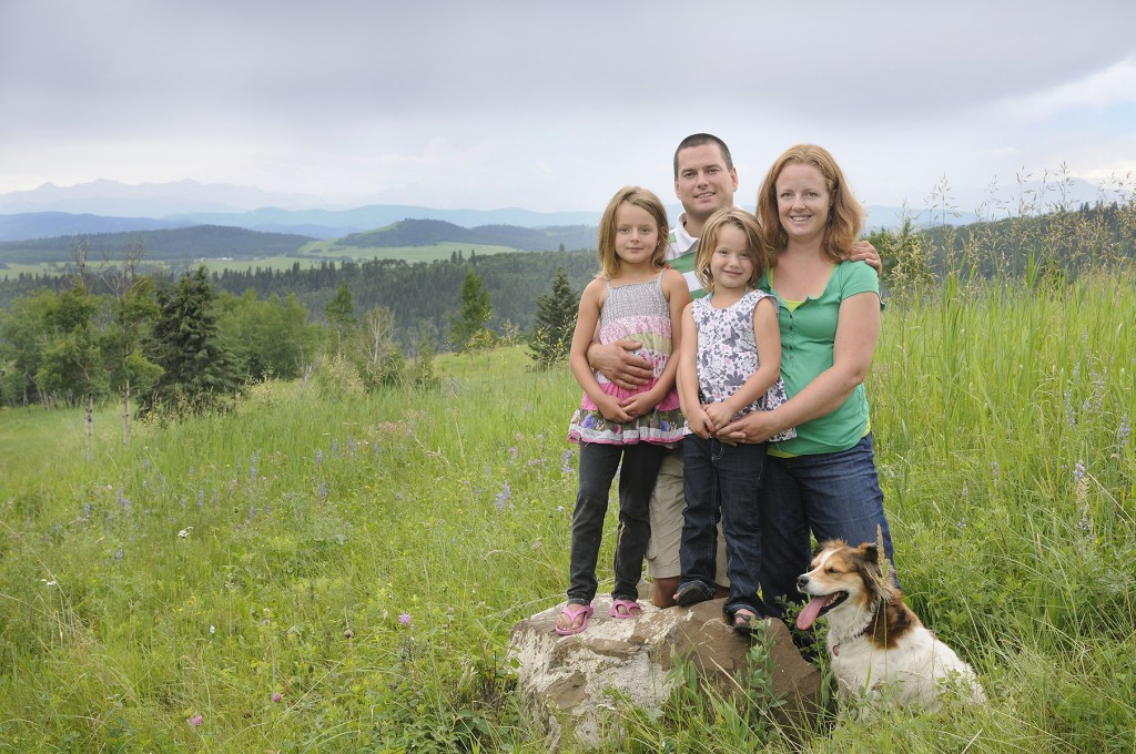 family portrait in Alberta's Foothills near Millarville