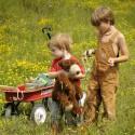 little boys with their wagon