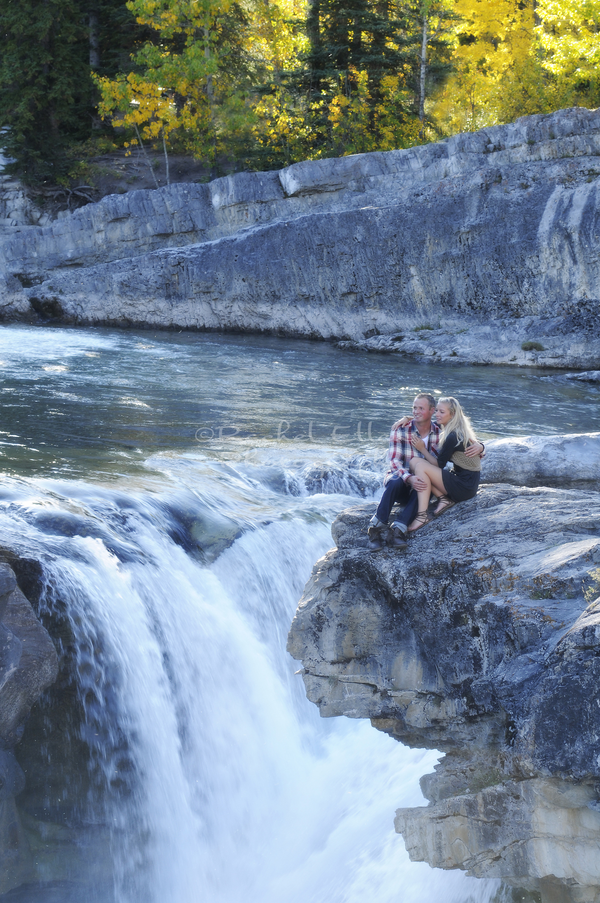 Elbow Falls Engagement Portriats
