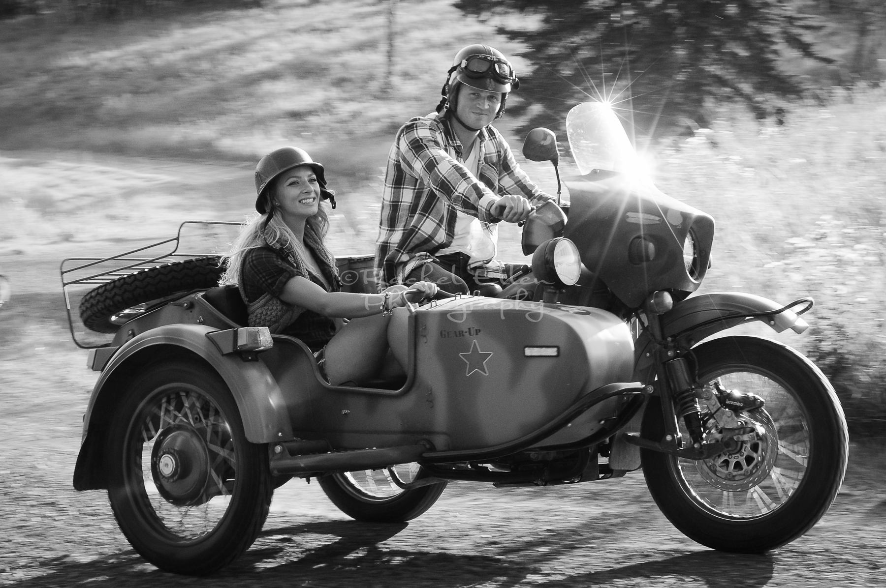 Engagement Portraits with vintage motorcycle