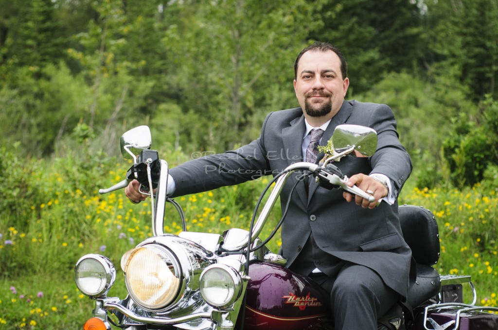 Groom on Harley