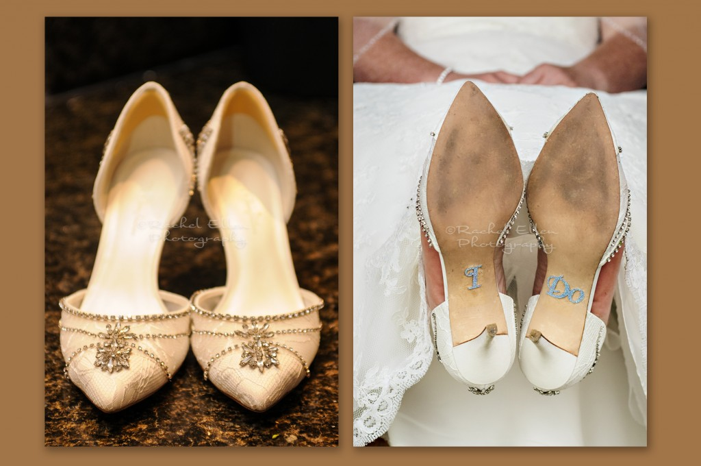 Bride's bejewelled shoes