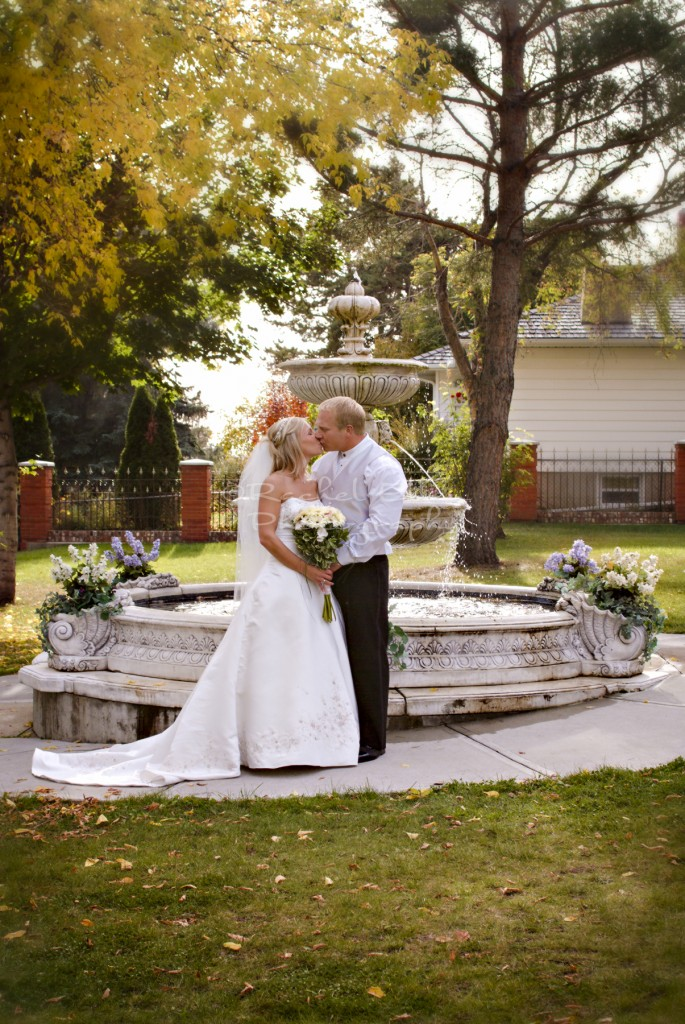 Bride and Groom by Fountain, McGrath Mansion