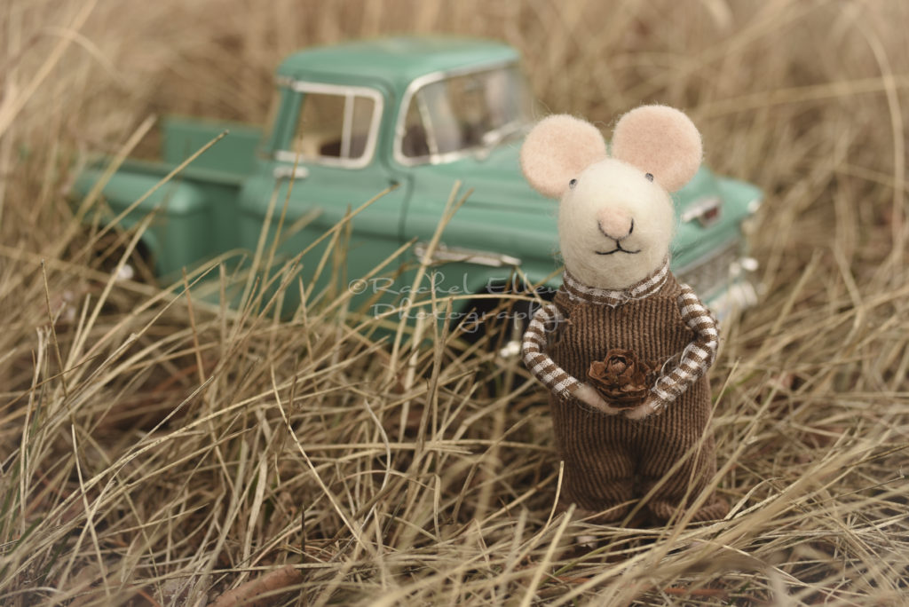 farmer felted mouse